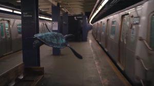 地下鉄を優雅に泳ぐ亀。不快になる人を出すことのない品のある合成(MVより引用)